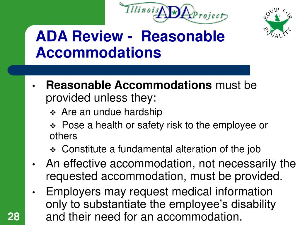 ADA Review -  Reasonable Accommodations