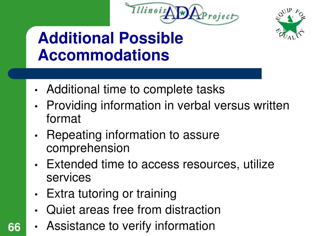 Additional Possible Accommodations