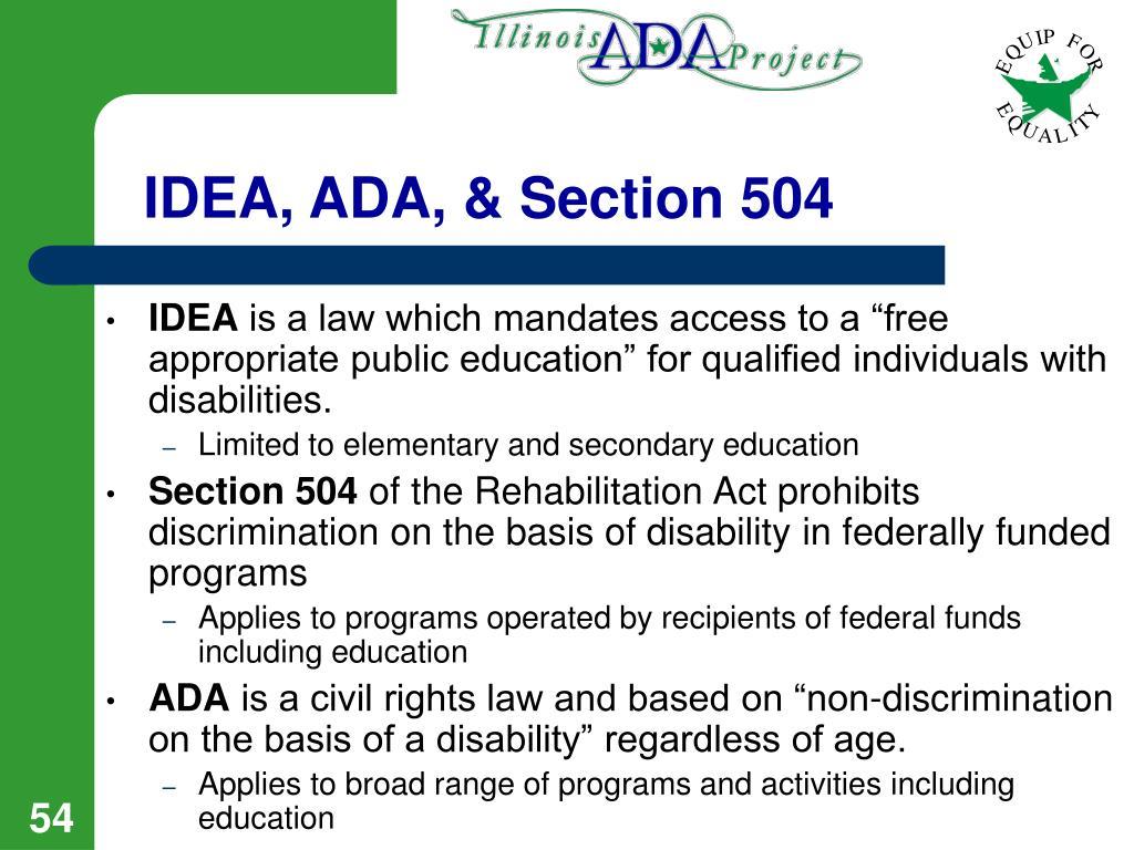 IDEA, ADA, & Section 504