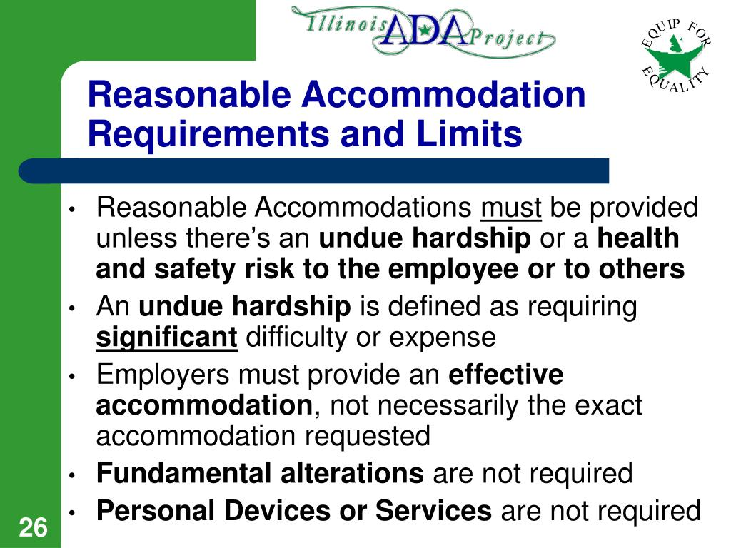 Reasonable Accommodation Requirements and Limits