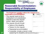 reasonable accommodation responsibility of employees