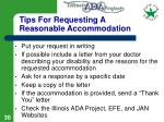 tips for requesting a reasonable accommodation