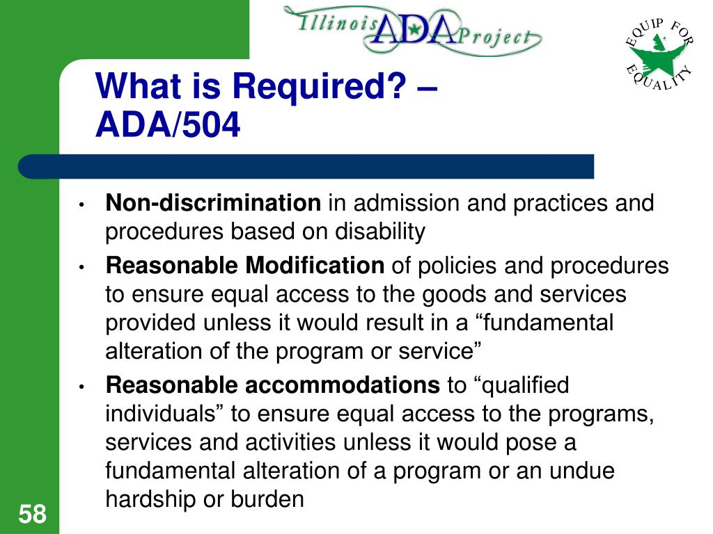 What is Required? – ADA/504