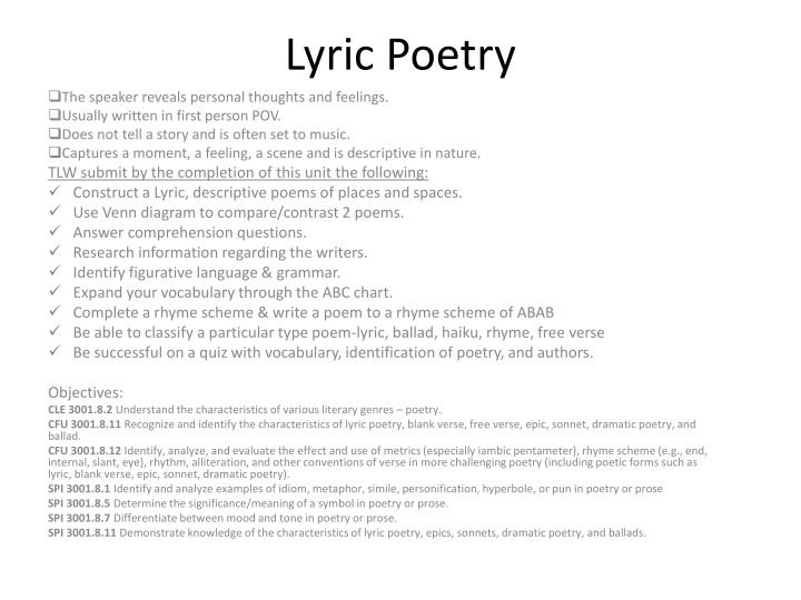 Ppt lyric poetry powerpoint presentation id1478515 lyric poetry ccuart Image collections