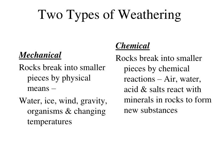 Two types of weathering