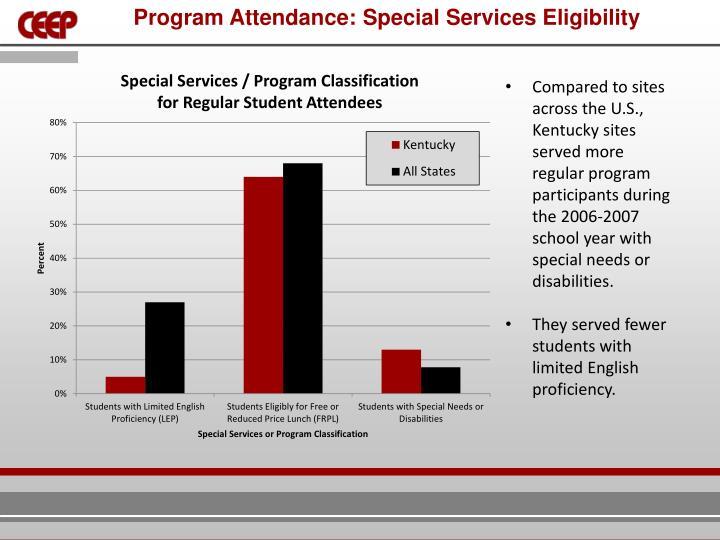 Program Attendance: Special Services Eligibility