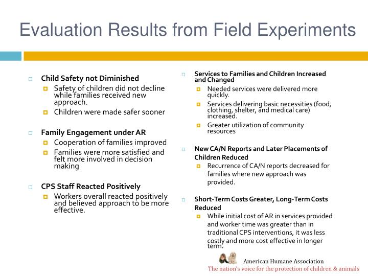 Evaluation Results from Field Experiments