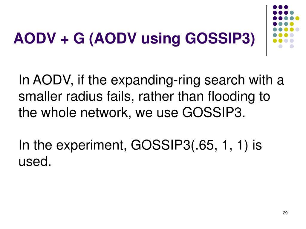 AODV + G (AODV using GOSSIP3)