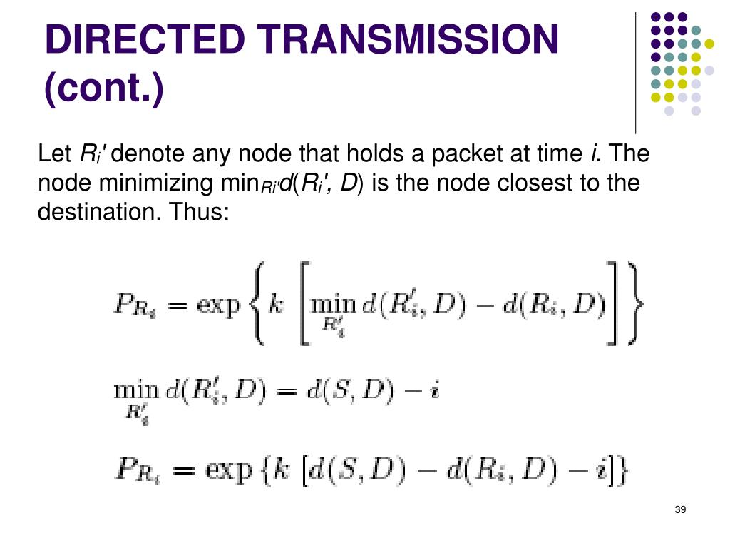 DIRECTED TRANSMISSION (cont.)