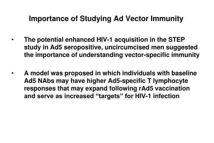 Importance of studying ad vector immunity