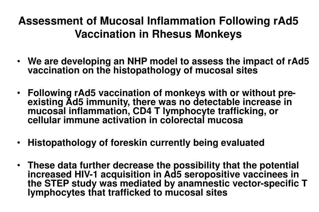 Assessment of Mucosal Inflammation Following rAd5 Vaccination in Rhesus Monkeys