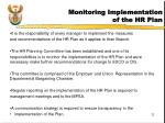 monitoring implementation of the hr plan