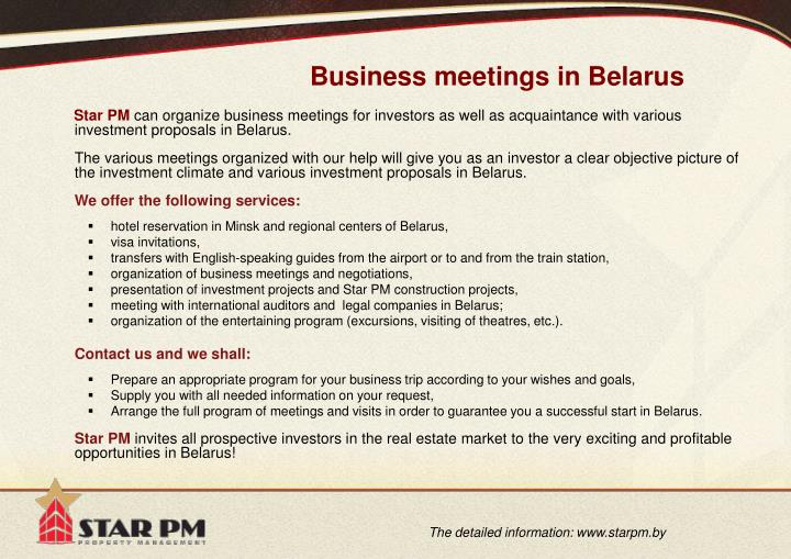Business meetings in Belarus