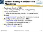 various bitmap compression algorithms