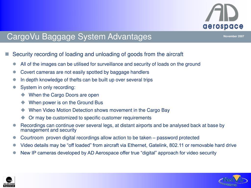 CargoVu Baggage System Advantages