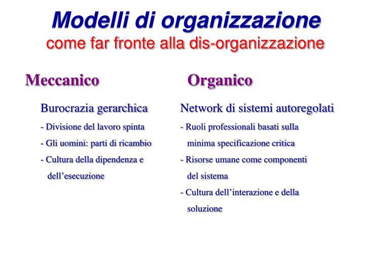 Modelli di organizzazione come far fronte alla dis organizzazione