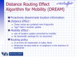 distance routing effect algorithm for mobility dream