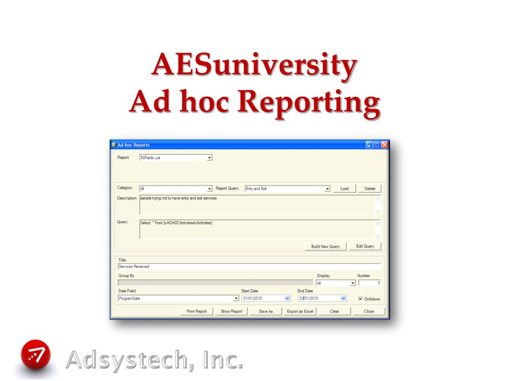 aesuniversity ad hoc reporting l.