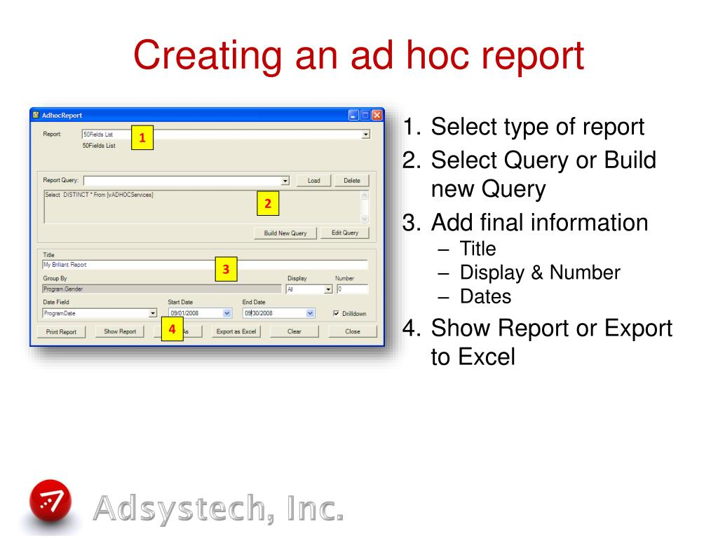 Creating an ad hoc report