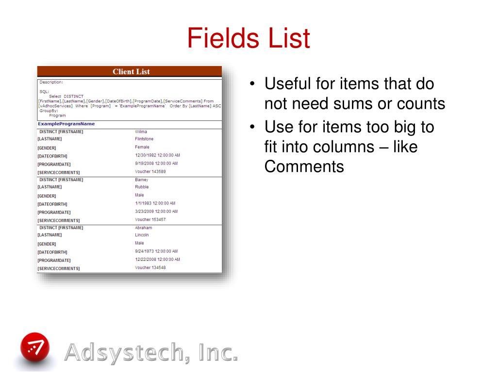 Fields List