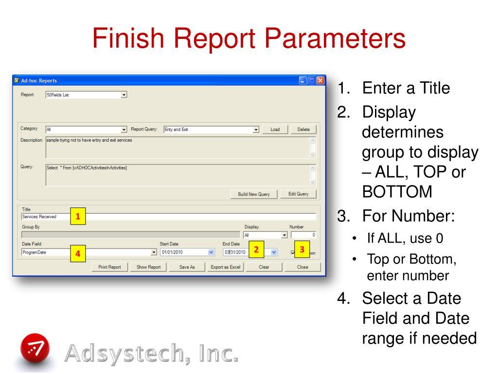Finish Report Parameters