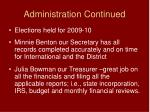 administration continued
