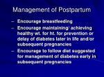 management of postpartum