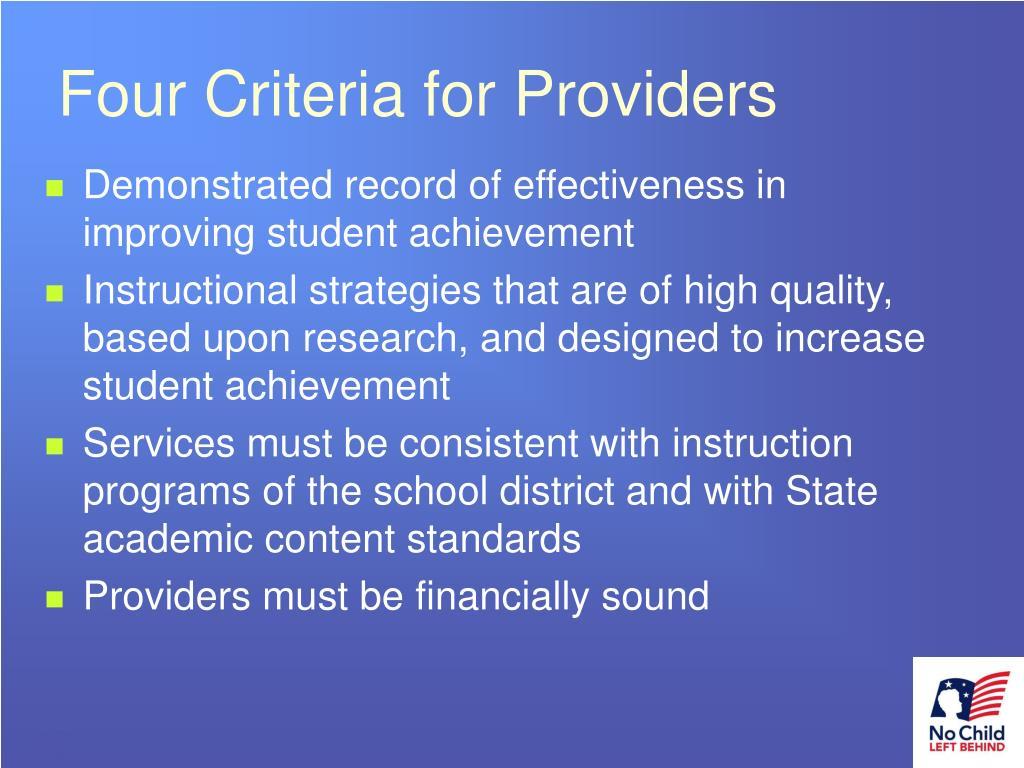Four Criteria for Providers