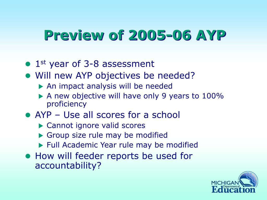 Preview of 2005-06 AYP