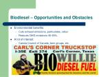 biodiesel opportunities and obstacles