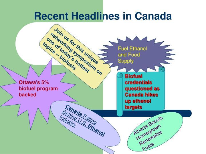 Recent Headlines in Canada