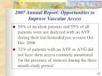 2007 annual report opportunities to improve vascular access