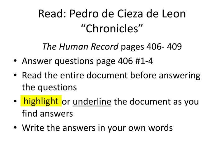 Read: Pedro de