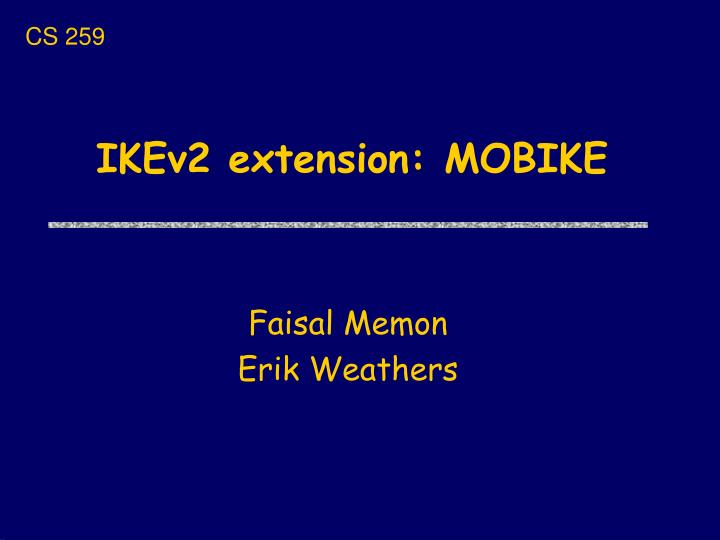 Ikev2 extension mobike