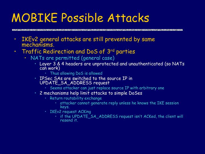 MOBIKE Possible Attacks