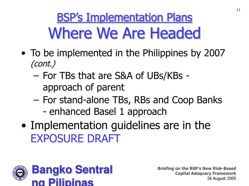 BSP's Implementation Plans