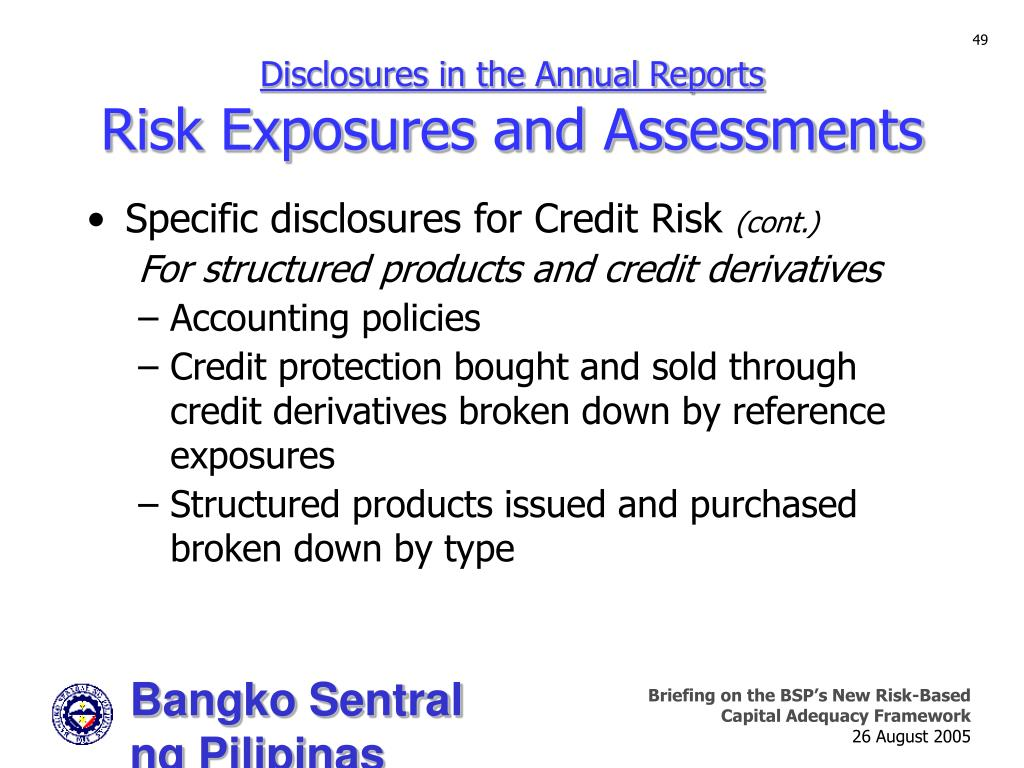 Disclosures in the Annual Reports