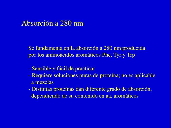 Absorción a 280 nm