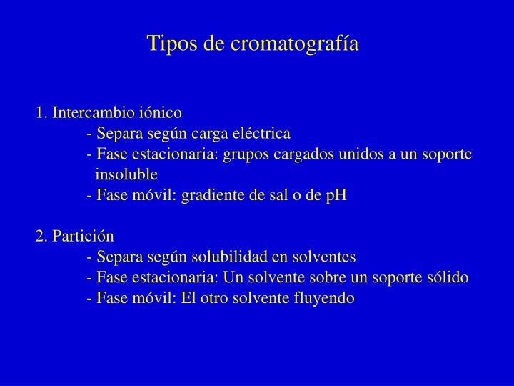 Tipos de cromatografía