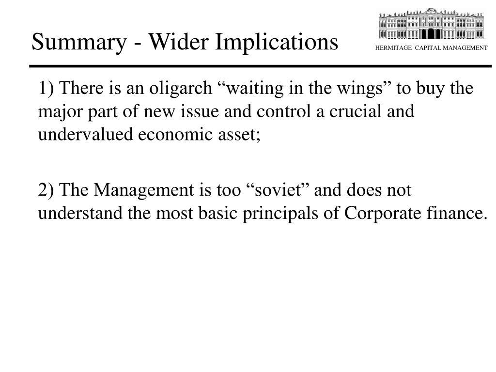 Summary - Wider Implications