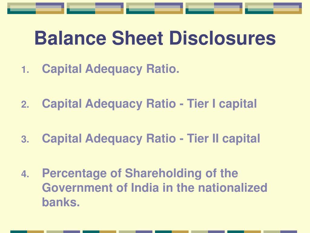 Balance Sheet Disclosures