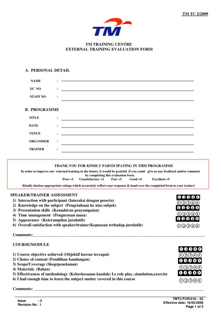 ppt - tm training centre external training evaluation form, Powerpoint templates