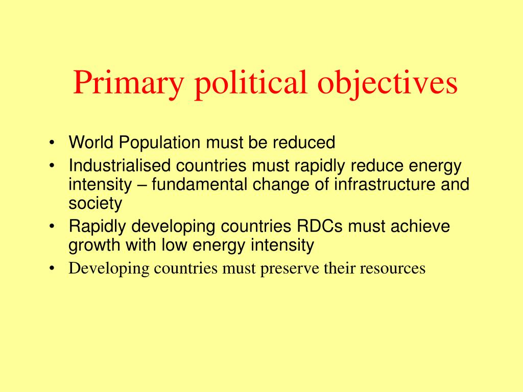 Primary political objectives