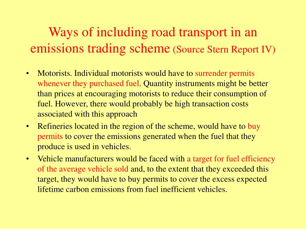 Ways of including road transport in an emissions trading scheme