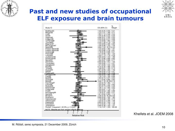 Past and new studies of occupational ELF exposure and brain tumours