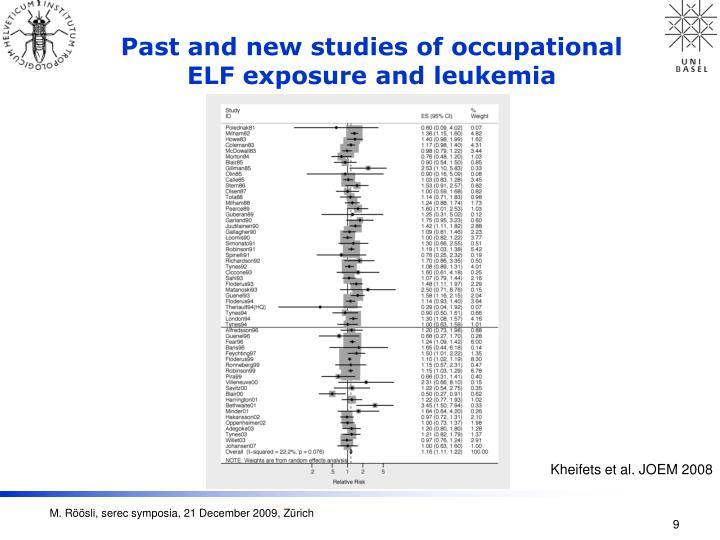 Past and new studies of occupational ELF exposure and leukemia