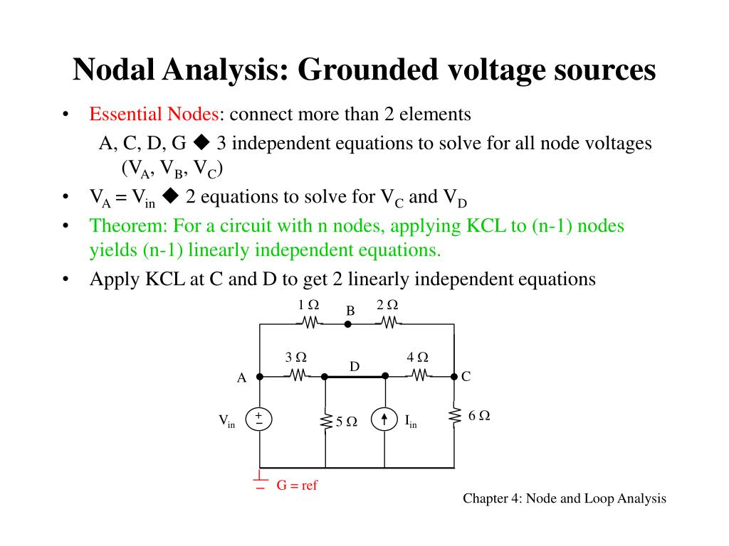Ppt Nodal Analysis Grounded Voltage Sources Powerpoint Circuit N