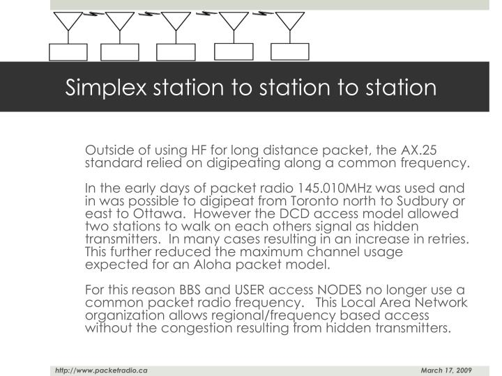 Simplex station to station to station