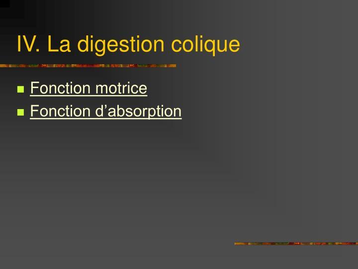 IV. La digestion colique