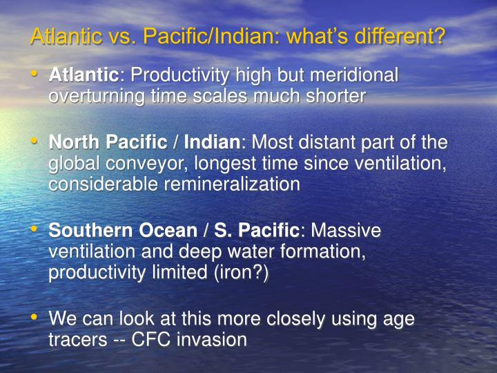 Atlantic vs. Pacific/Indian: what's different?